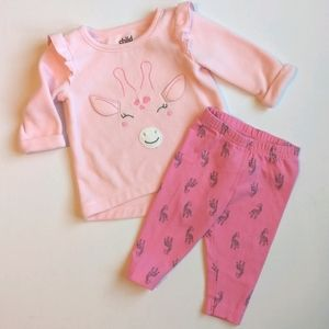 Pink Giraffe 🦒 Baby Girl Outfit * 0-3M